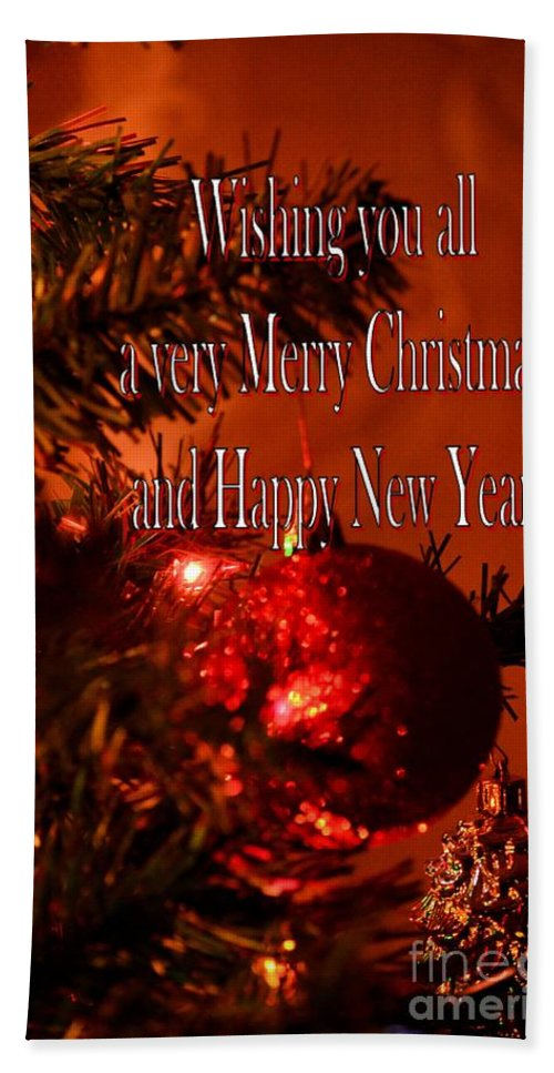 Christmas Card 4 Hand Towel featuring the digital art Christmas Card 4 by Maria Urso