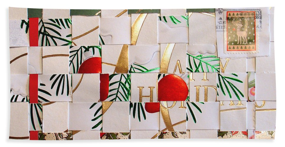 Christmas Hand Towel featuring the mixed media Christmas Card Abstract by Steve Karol