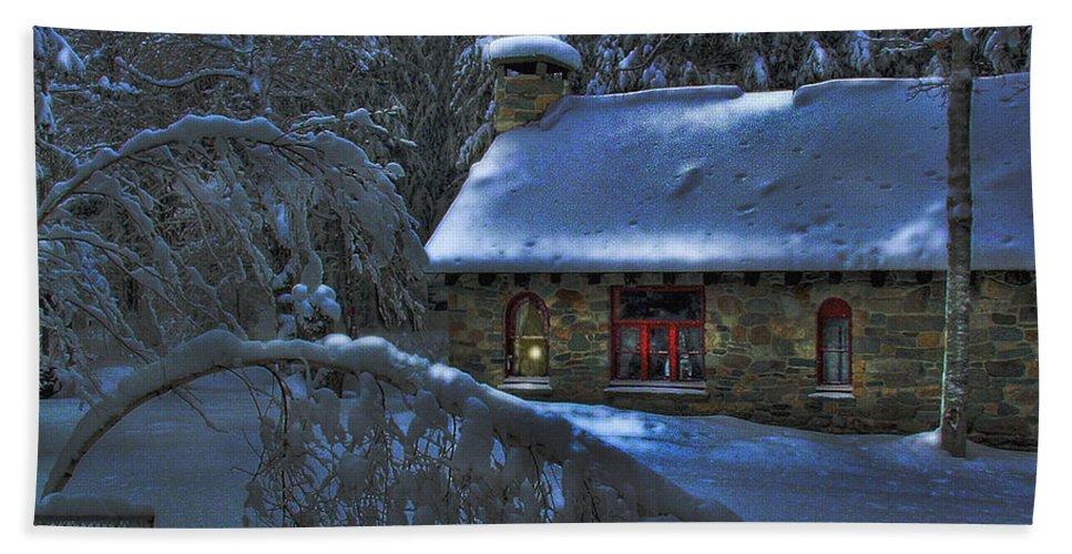 Christmas Card Moonlight On Stone House Bath Sheet featuring the photograph Christmas Card Moonlight On Stone House by Wayne King