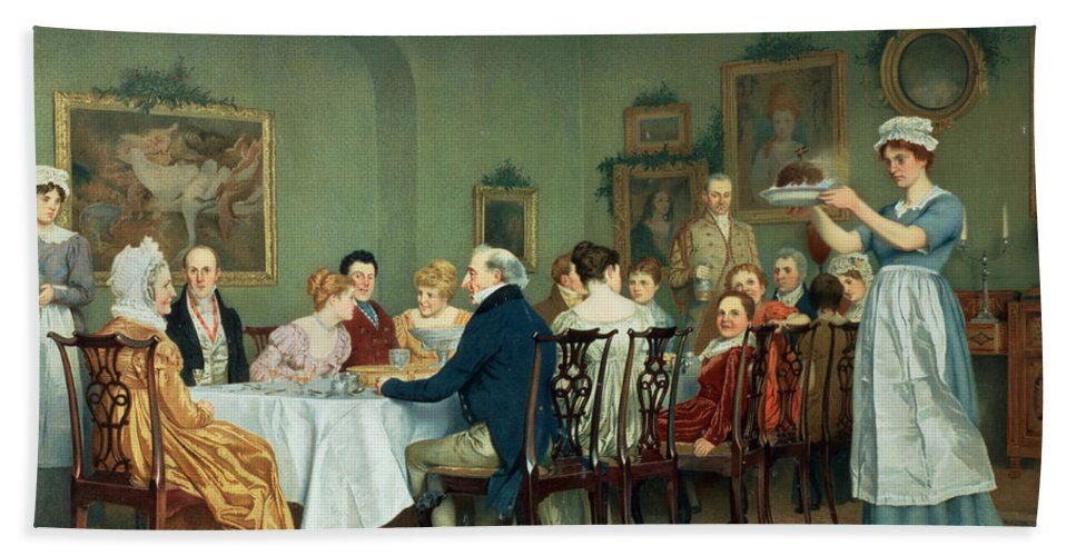 Dining Room Hand Towel featuring the painting Christmas Comes But Once A Year by Charles Green