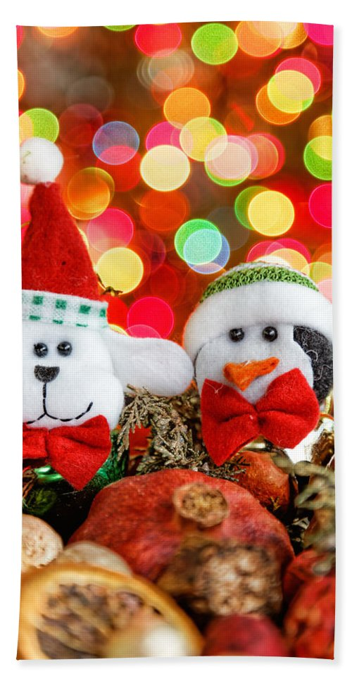 Background Hand Towel featuring the photograph Christmas Dog And Penguin by Peter Lakomy