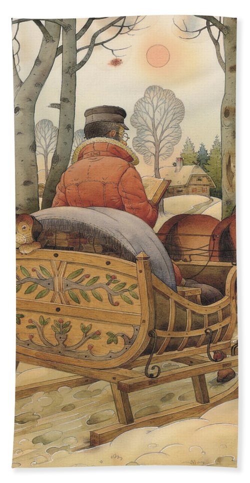 Christmas Gretting Card Winter Books Lanscape Snow White Holiday Bath Towel featuring the painting Christmas Eve by Kestutis Kasparavicius