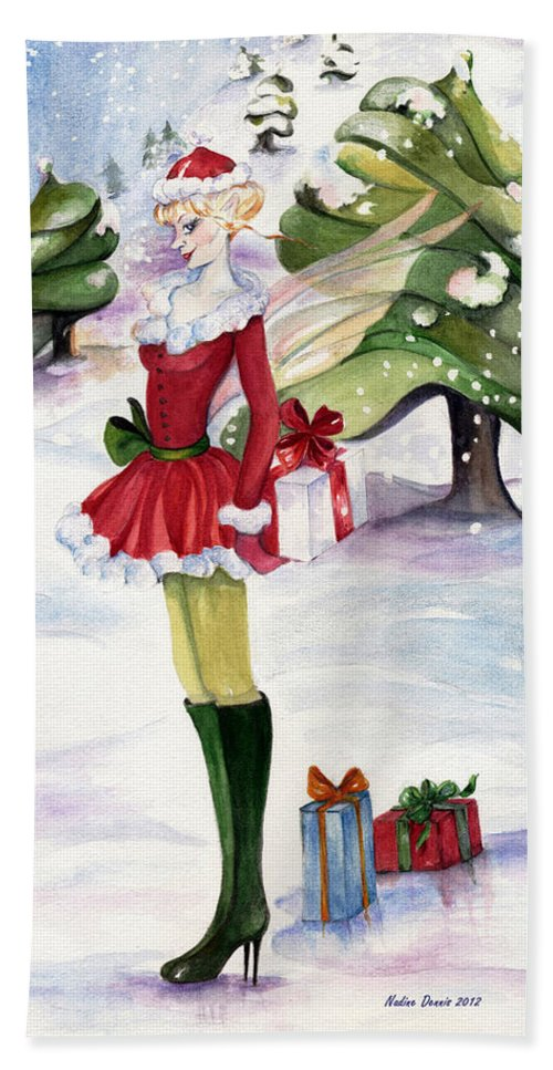 Snow-scape Bath Sheet featuring the painting Christmas Fantasy by Nadine Dennis