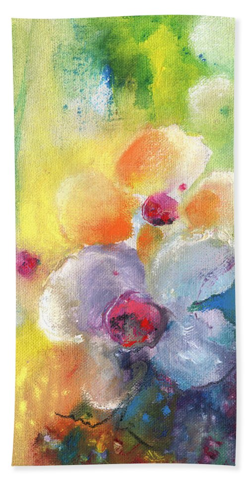 Flowers Hand Towel featuring the painting Christmas Flowers For Mom 01 by Miki De Goodaboom