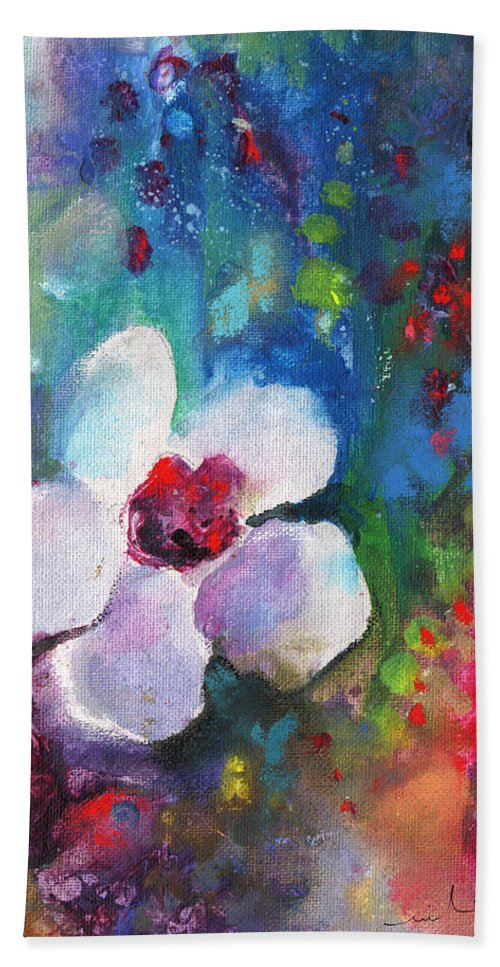 Flowers Hand Towel featuring the painting Christmas Flowers For Mom 02 by Miki De Goodaboom