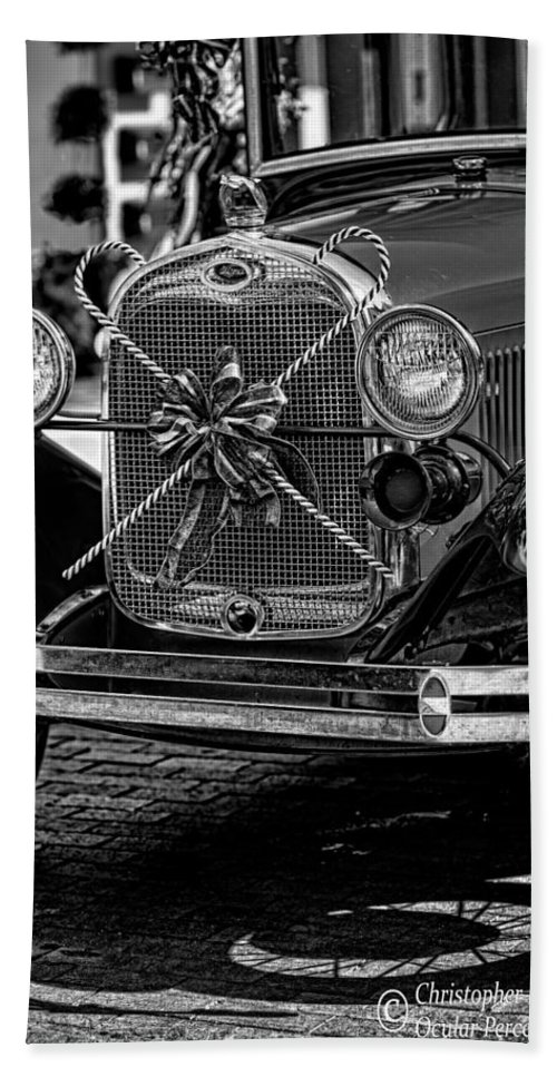 Christopher Holmes Photography Hand Towel featuring the photograph Christmas Grillwork - Bw by Christopher Holmes