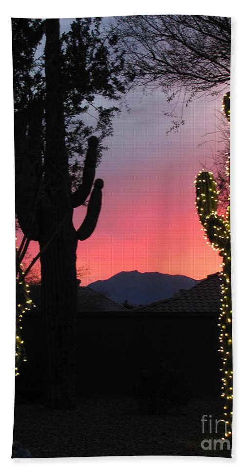 Christmas Lights Hand Towel featuring the photograph Christmas In Arizona by Marilyn Smith