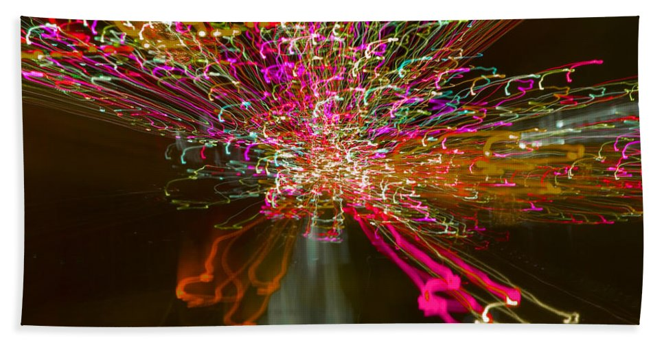 Exploding . Contemporary. Christmas 2017. Lights. .movement. Abstract.colour .london. Sky Line. Christmas. Cards .2017. Bath Sheet featuring the photograph Exploding  Lights by Clive Beake