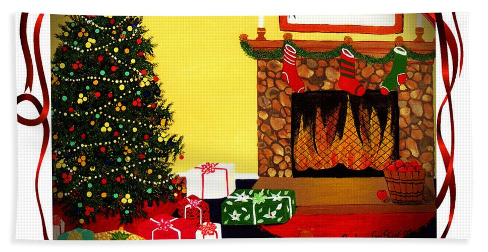 Christmas Bath Sheet featuring the painting Christmas - Memories - Ribbons - Bows by Barbara Griffin