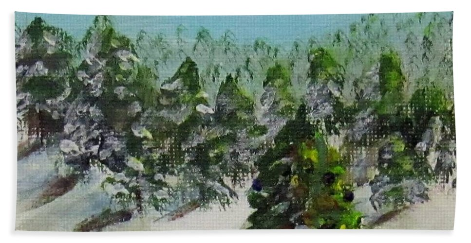 Christmas Hand Towel featuring the painting Christmas Mountain by Laurie Morgan