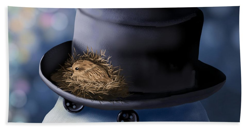 Snowman Bath Sheet featuring the painting Christmas Nest by Veronica Minozzi