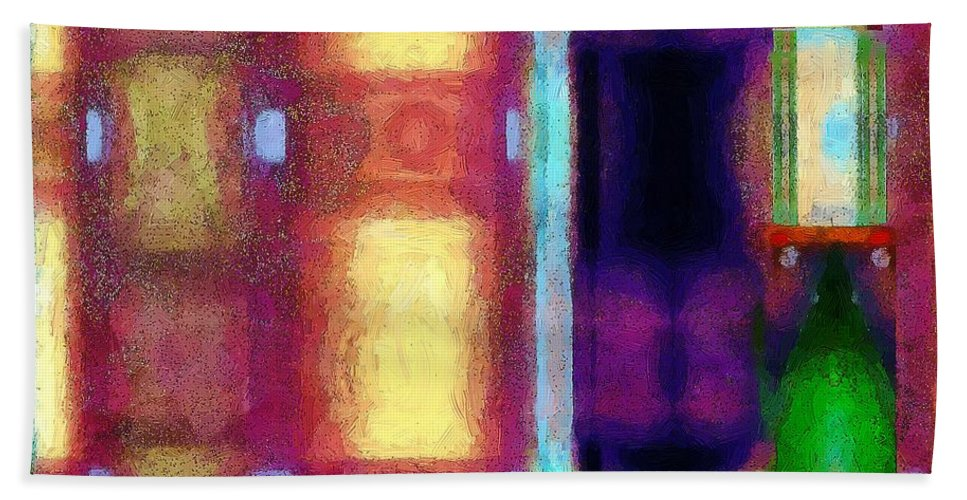 Abstract Hand Towel featuring the painting Christmas On La Rue Des Fauves by RC DeWinter