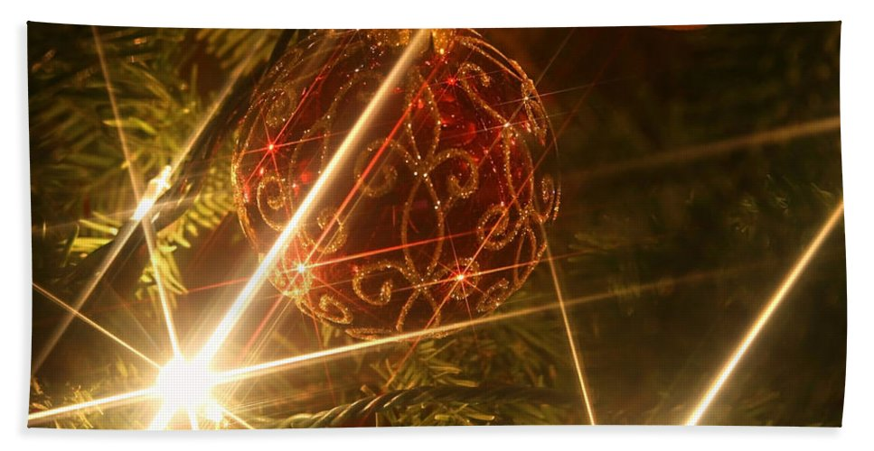 Christmas Ornaments Hand Towel featuring the photograph Christmas Ornaments 1 by Ellen Henneke