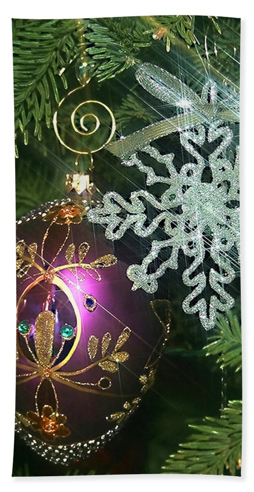 Christmas Ornaments Bath Sheet featuring the photograph Christmas Ornaments 2 by Ellen Henneke
