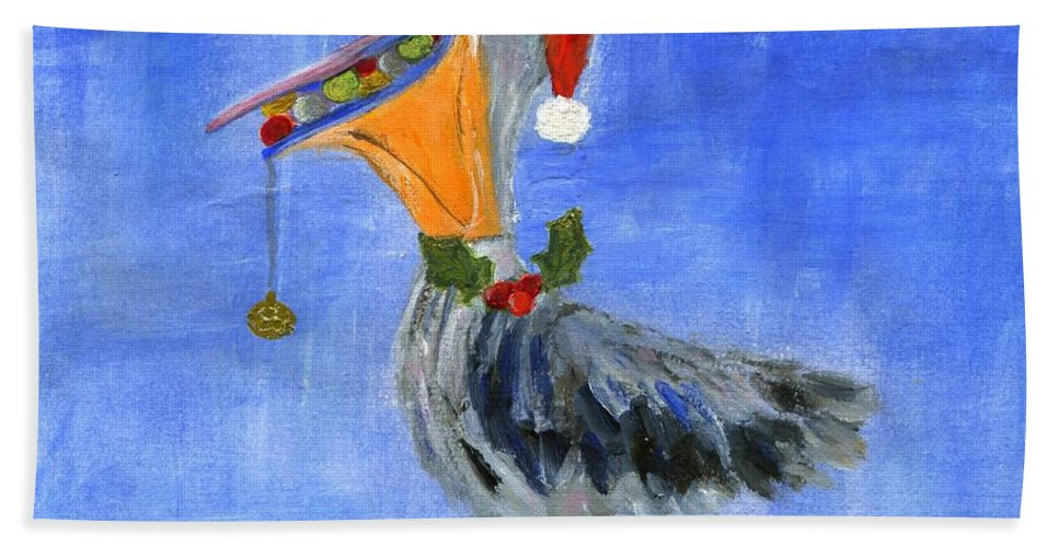 Ornament Bath Sheet featuring the painting Christmas Pelican by Jamie Frier