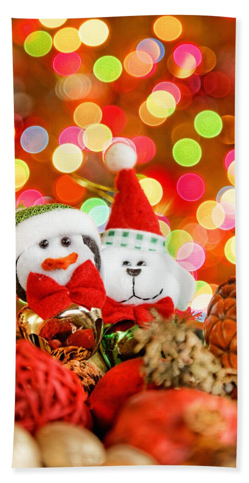 Background Bath Sheet featuring the photograph Christmas Penguin And Puppy by Peter Lakomy
