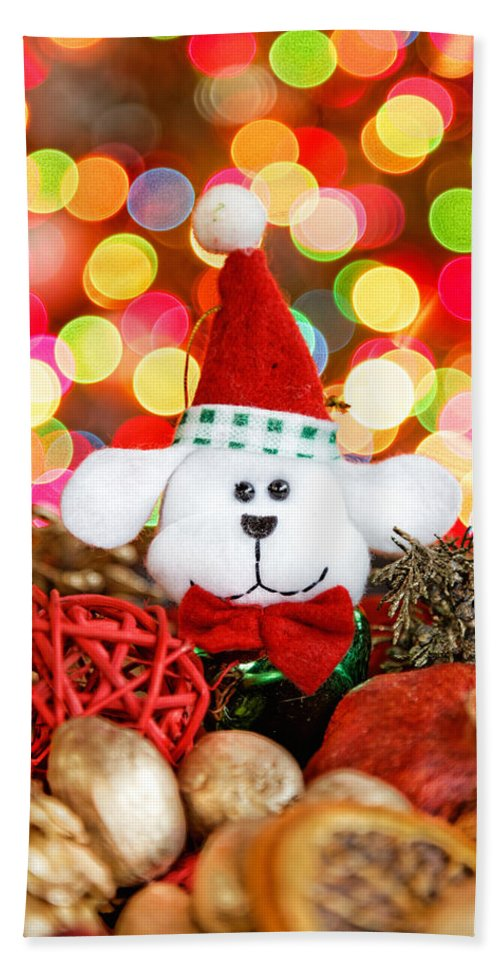 Background Bath Sheet featuring the photograph Christmas Puppy by Peter Lakomy