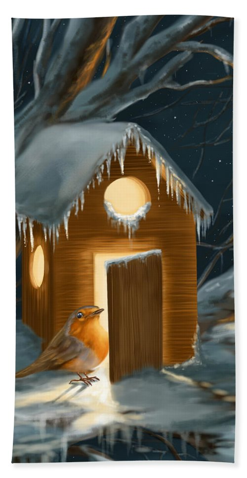 Robin Hand Towel featuring the painting Christmas Robin by Veronica Minozzi