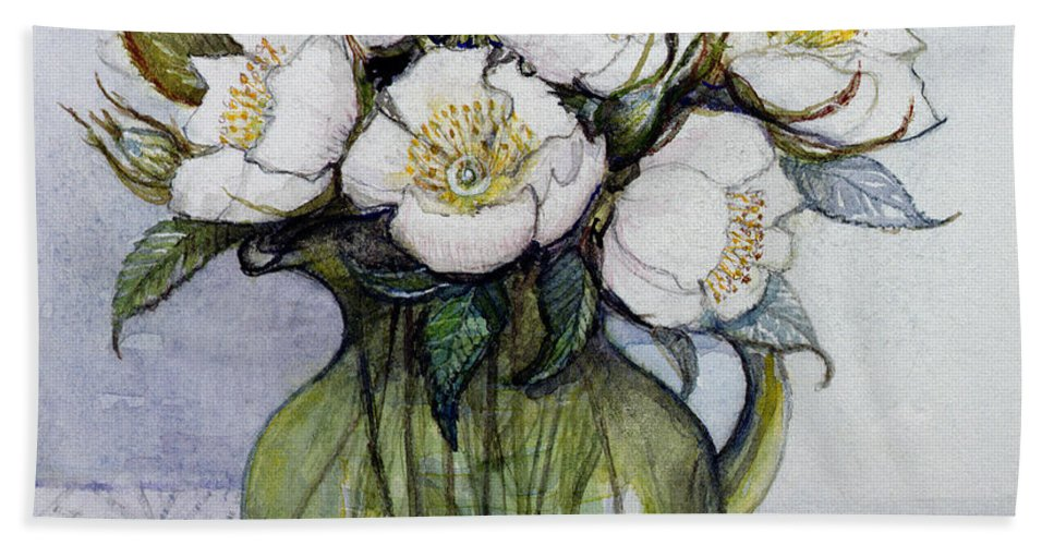 Christmas: Contemporary Hand Towel featuring the painting Christmas Roses by Gillian Lawson