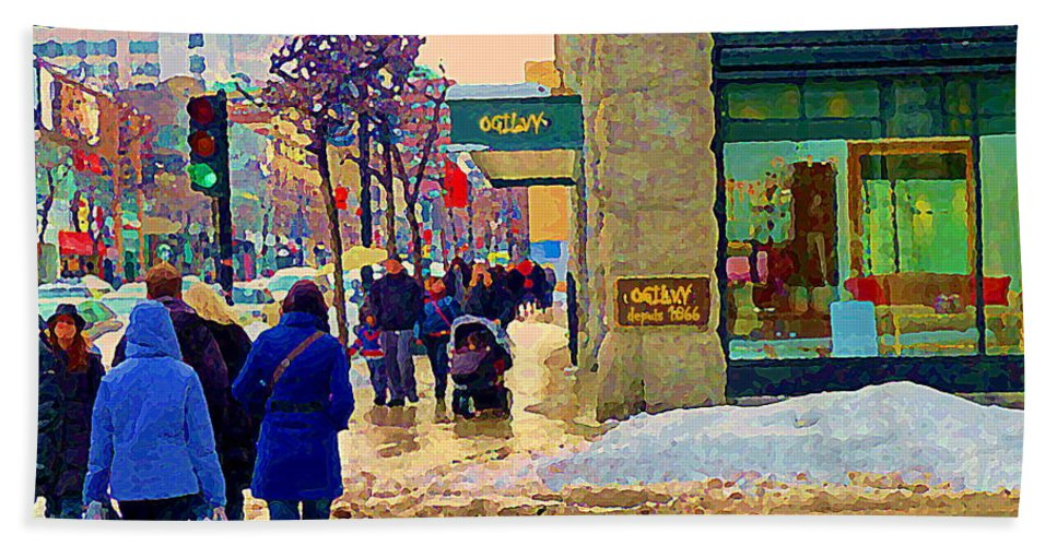 Downtown Montreal Hand Towel featuring the painting Christmas Shoppers Ogilvys Enchanted Village Window Display A Montreal Xmas Tradition Carole Spandau by Carole Spandau