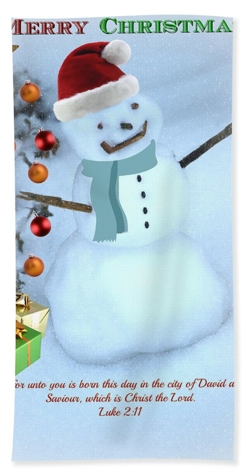 Christmas Card Bath Sheet featuring the mixed media Christmas Snowman by Eric Liller