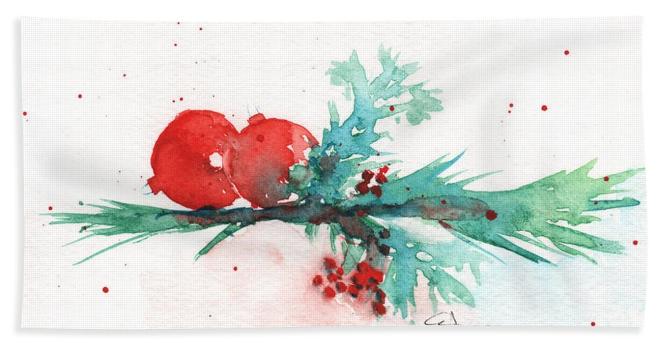 Christmas Bath Sheet featuring the painting Christmas Theme 1 by Claudia Hafner