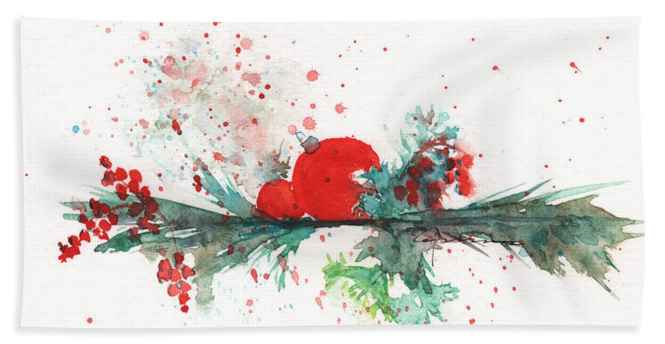 Christmas Bath Sheet featuring the painting Christmas Theme 2 by Claudia Hafner
