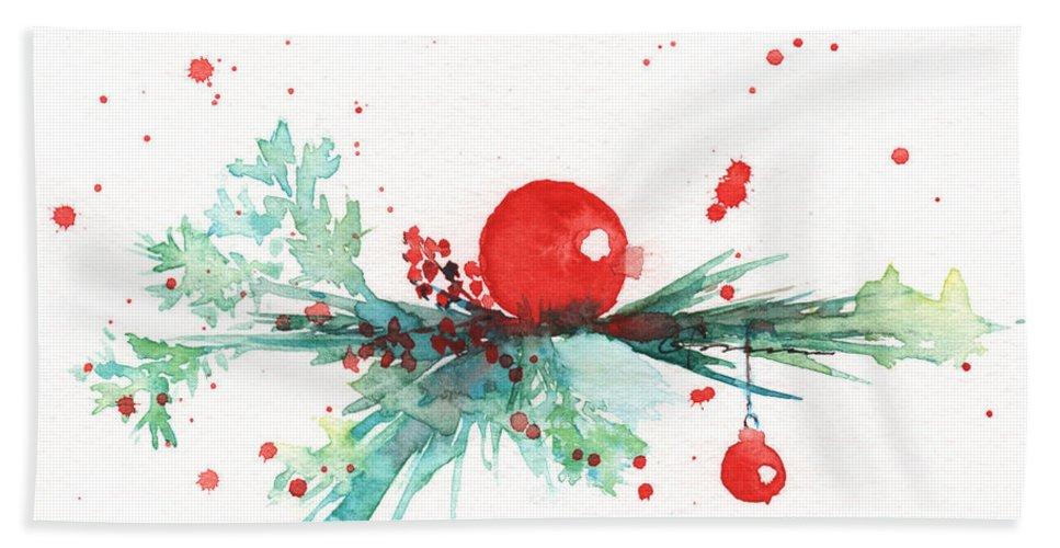 Christmas Bath Sheet featuring the painting Christmas Theme 3 by Claudia Hafner