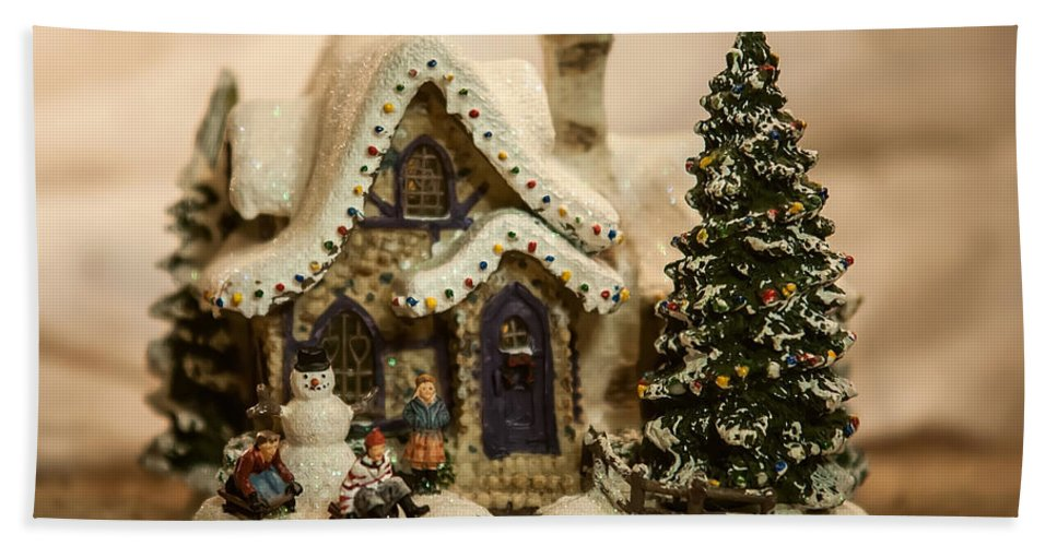 Celebrating Bath Sheet featuring the photograph Christmas Toy Village by Alex Grichenko