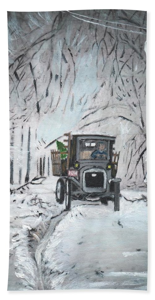 1920s Bath Sheet featuring the painting Christmas Tree by Cliff Wilson