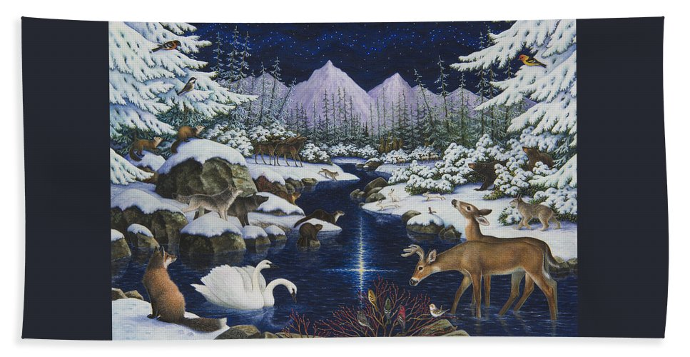 Christmas Hand Towel featuring the painting Christmas Wonder by Lynn Bywaters