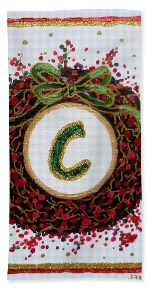 Christmas Hand Towel featuring the painting Christmas Wreath Initial C by Jamie Frier