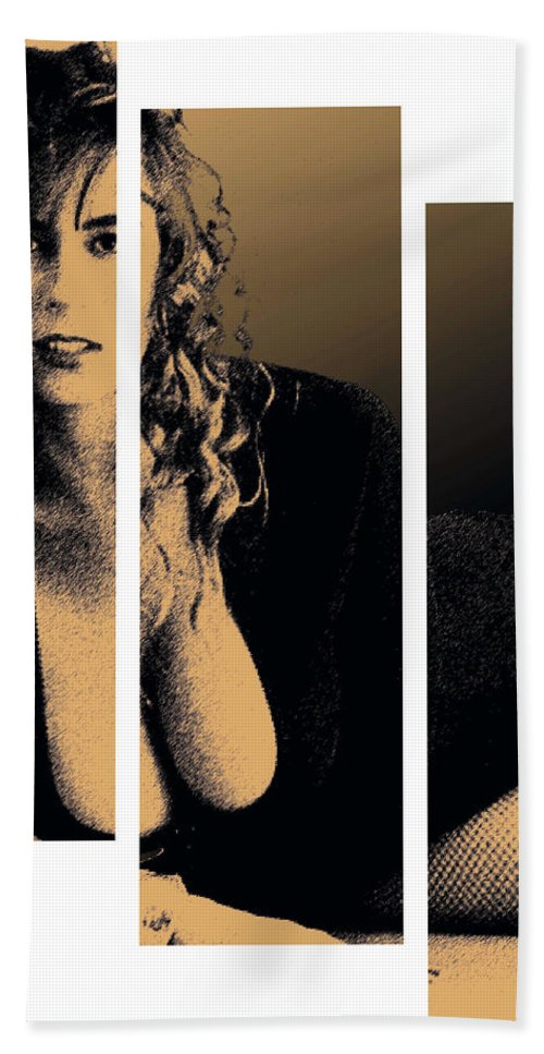 Pornstar Bath Sheet featuring the digital art Christy Canyon In Copper by Dale Loos Jr