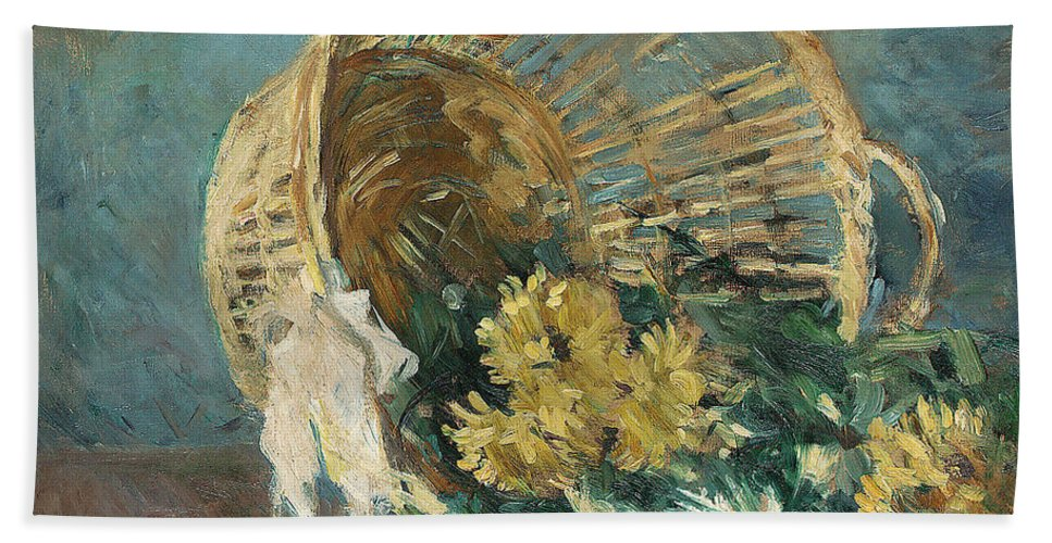 Chrysanthemum Bath Sheet featuring the painting Chrysanthemums Or The Overturned Basket by Berthe Morisot