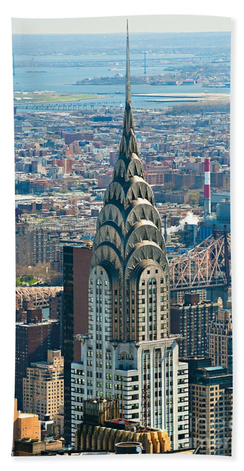 Aerial Bath Sheet featuring the photograph Chrysler Building - Nyc by Luciano Mortula