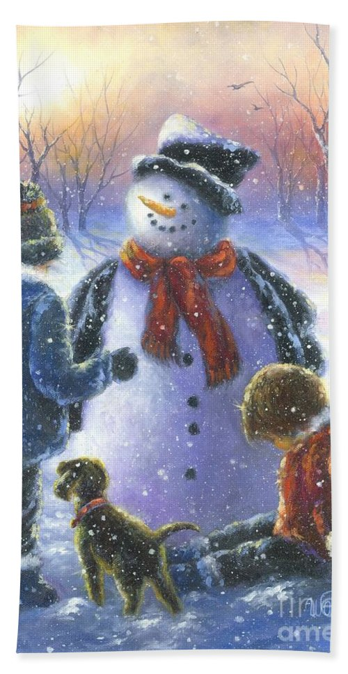 Snowman Hand Towel featuring the painting Chubby Snowman by Vickie Wade