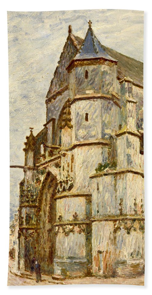 Church Hand Towel featuring the painting Church At Moret After The Rain by Alfred Sisley