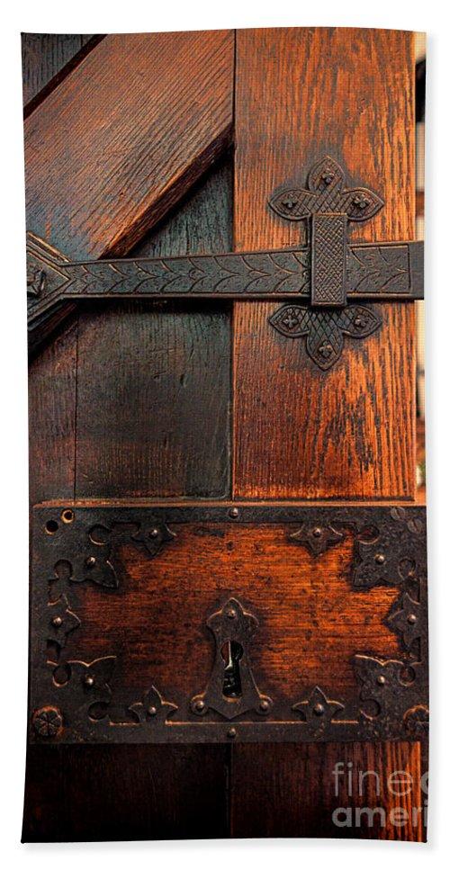 Gothic Hand Towel featuring the photograph Church Door by Jill Battaglia
