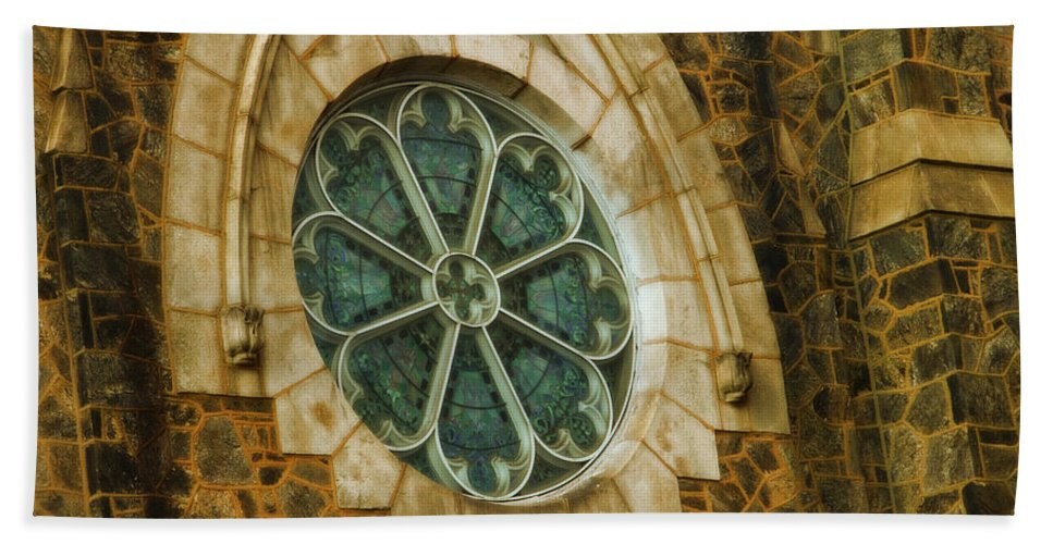 Germantown Bath Sheet featuring the photograph Church Glass by Alice Gipson