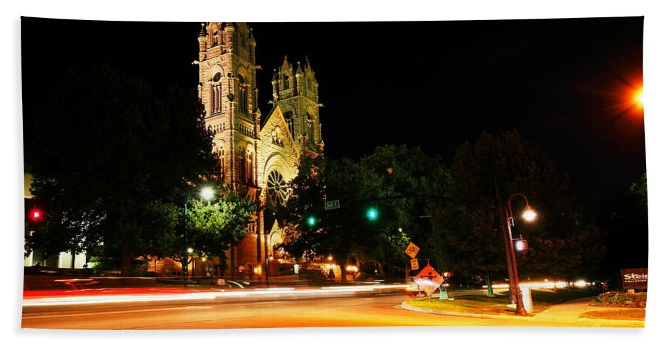 Churches Hand Towel featuring the photograph Church In Downtown Salt Lake City Long Exposure  by Jeff Swan