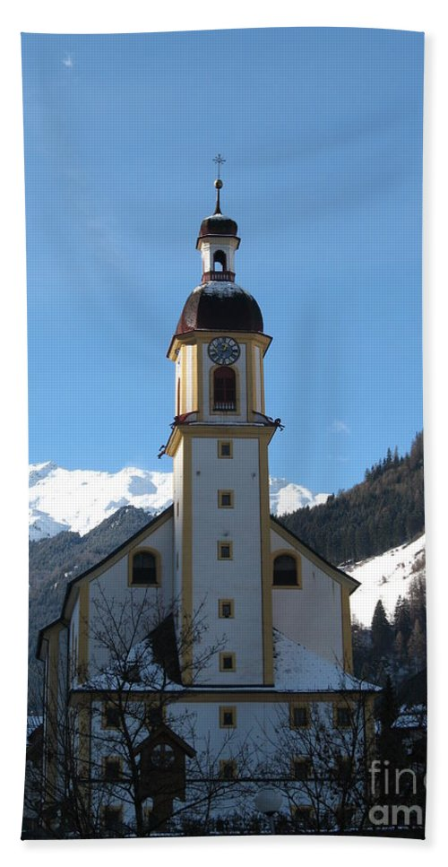 Church Bath Sheet featuring the photograph Church In The Austrian Alps by Christiane Schulze Art And Photography