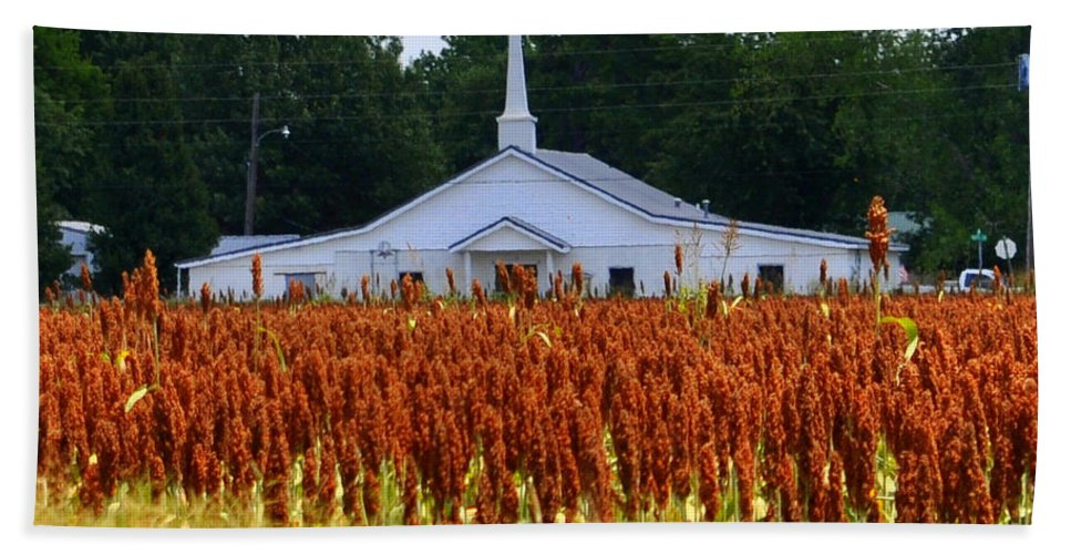 Church Hand Towel featuring the photograph Church In The Fields by Lydia Holly