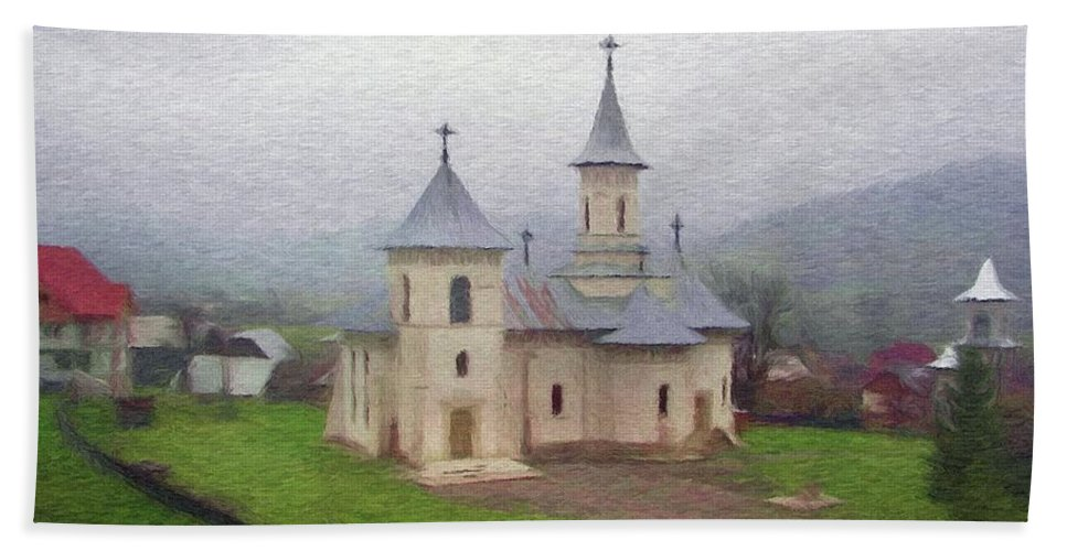 Chapel Hand Towel featuring the painting Church In The Mist by Jeffrey Kolker