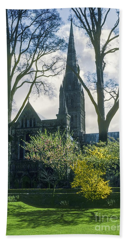 Blessed Virgin Mary Cathedral Cathedrals Church Churches Structure Structures Building Buildings Architecture Place Places Of Worship Truck Trucks City Cities Cityscape Cityscapes Truro Cornwal England Great Britian Spring Tree Trees Blossoms Bath Sheet featuring the photograph Church Of The Blessed Mary by Bob Phillips