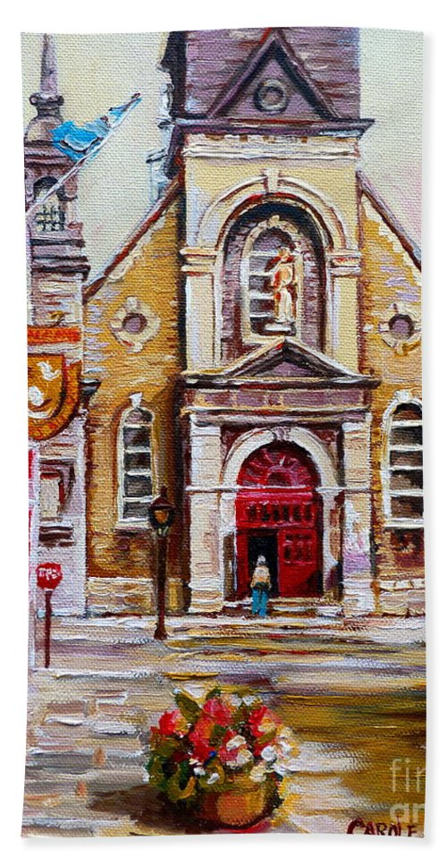 Montreal Churches Bath Towel featuring the painting Church On Sunday by Carole Spandau