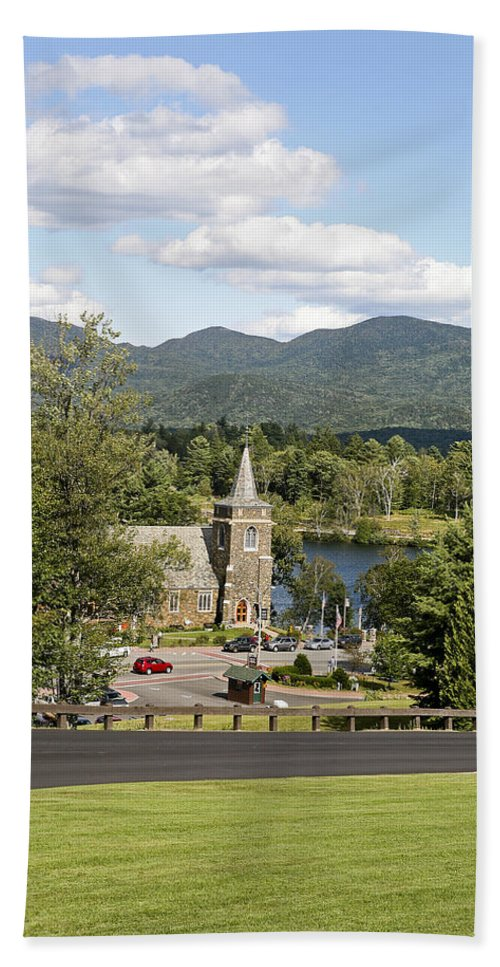 Lake Placid Hand Towel featuring the photograph Church On The Lake by Eric Swan