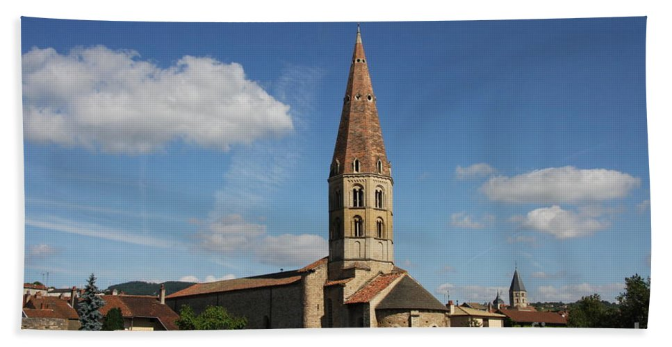 Church Hand Towel featuring the photograph Church Saint Marcel - Cluny by Christiane Schulze Art And Photography