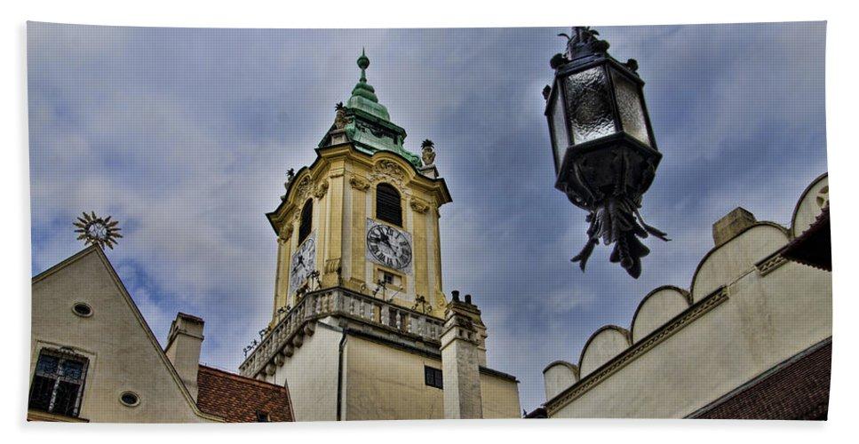 Bratislava Slovakia Hand Towel featuring the photograph Church Steeple - Bratislava Slovakia by Jon Berghoff