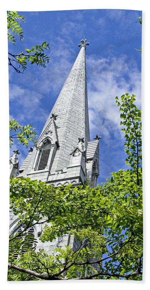Church Bath Sheet featuring the photograph Church Steeple by Eric Swan