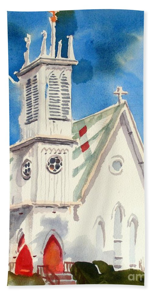 Church Hand Towel featuring the painting Church With Jet Contrail by Kip DeVore